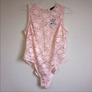 Forever 21 Floral Lace Print Bodysuit NWT